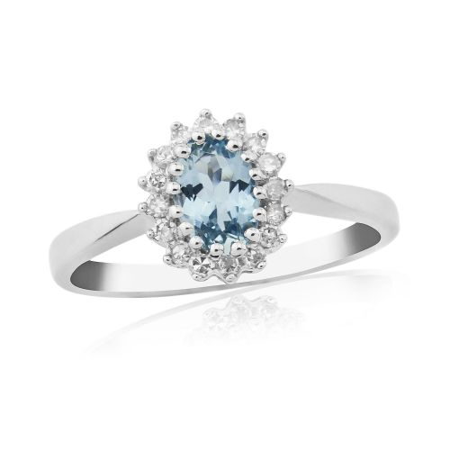 Oval white gold aquamarine and diamond cluster ring